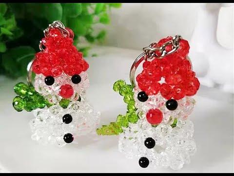 DIY Kawaii Bead Snowman Keychain 水晶串珠教学 可爱的小雪人挂饰