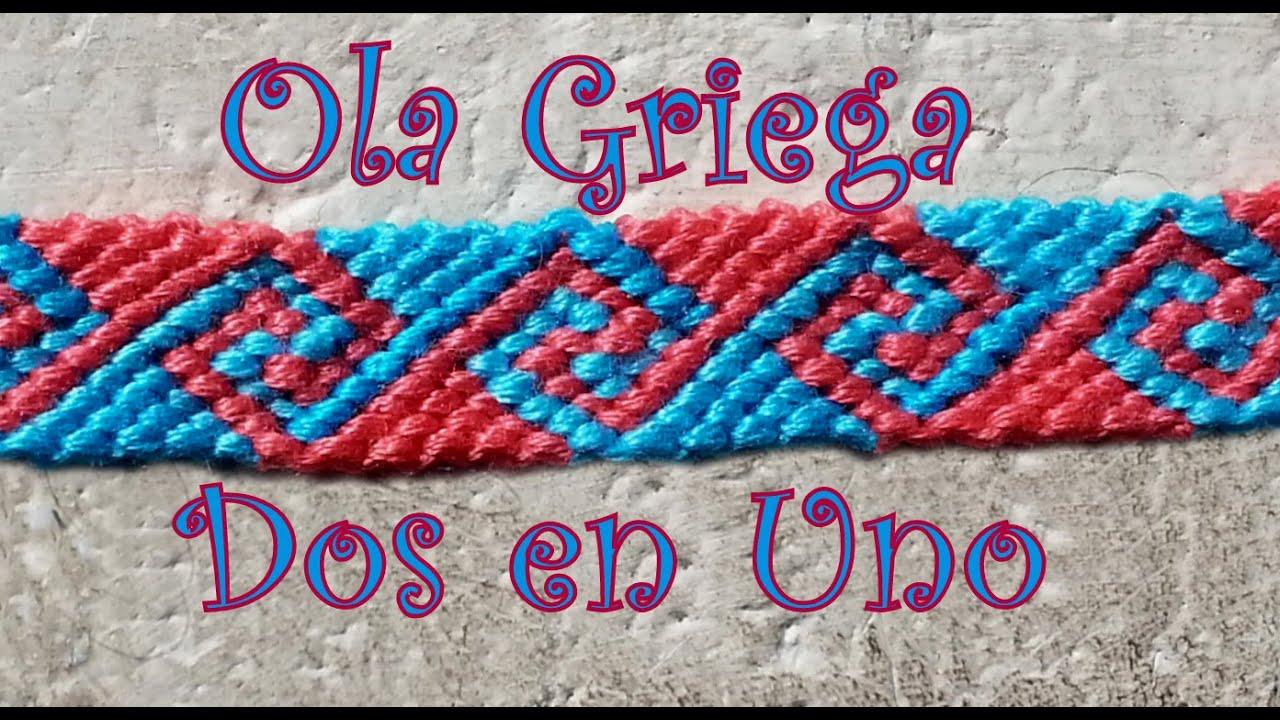 Pulsera de Hilo: Ola Griega Dos en Uno - YouTube