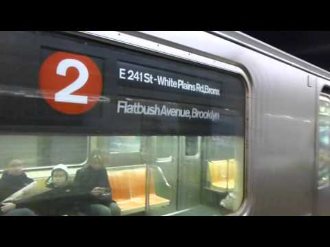 IRT Eastern Parkway Line: R62 3 Train with a 2 rollsign at Borough Hall (Weekend)