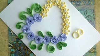 Paper Wedding Cards: make paper Quilling Wedding Card with heart.