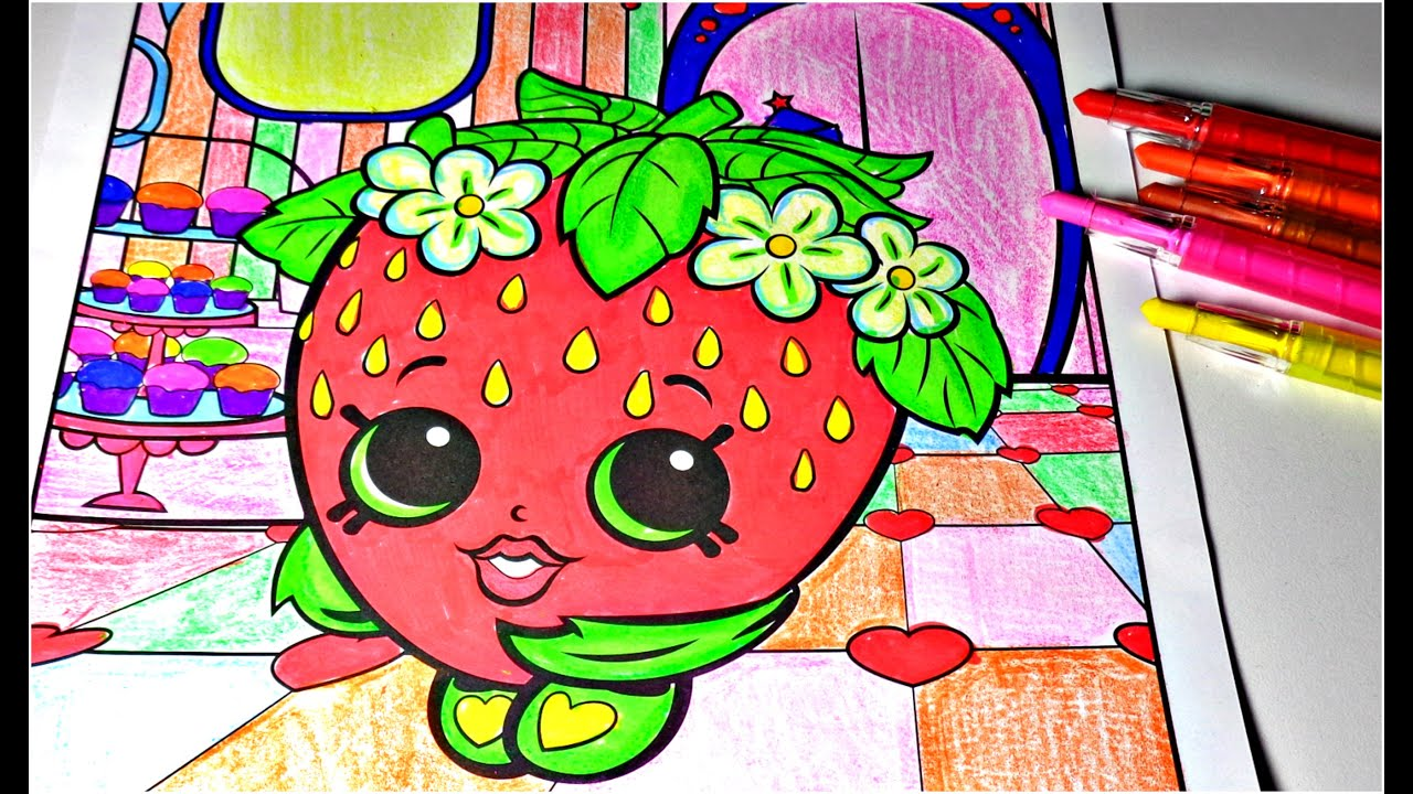 Shopkins Strawberry Kiss Coloring Page with Crayola Markers And ...