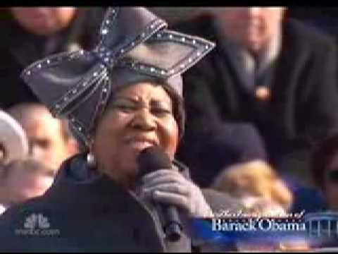 Barack Obama Inauguration Aretha Franklin Sings America My Country Tis Of Thee Jan   Youtube