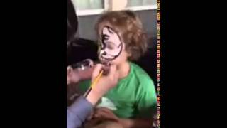 Birthday Boy Doug's dragon/skull Face Paint by EPIC Body Paint ATX Time Lapse
