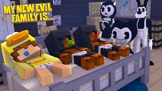 Minecraft MY NEW EVIL FAMILY IS.....BENDY ALICE ANGEL & BORIS FROM BENDY & THE INK MACHINE CHAPTER 3