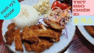 #38 thịt heo chiên xù - thịt heo chiên giòn hàn quốc (돈까스) - ăn kèm Salad khoai tây