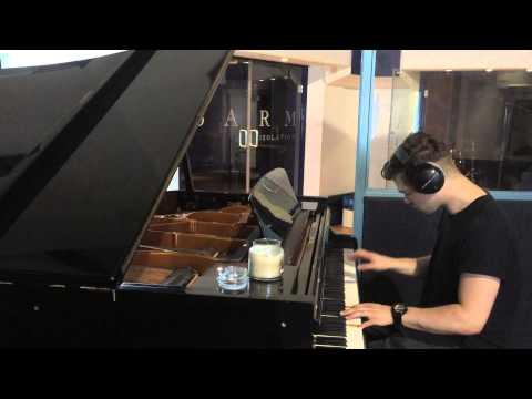 Fred Cox playing piano at Sarm (Studio 1)
