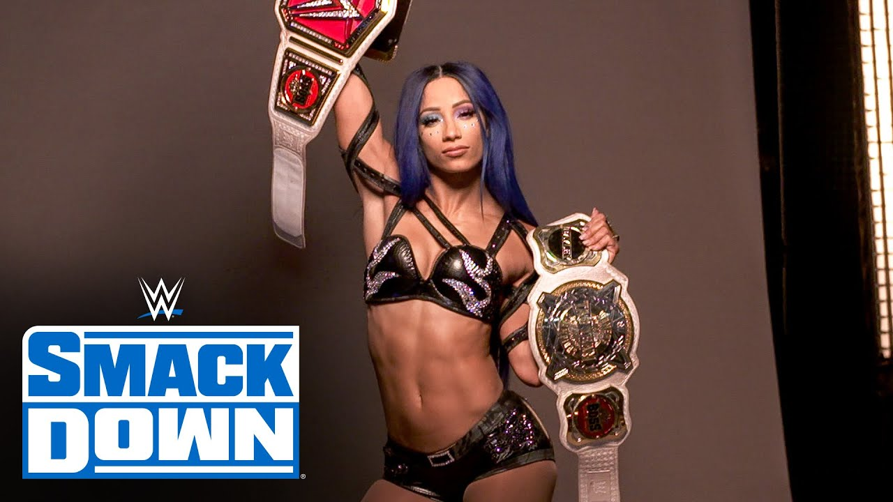 2 Beltz Banks poses with her titles: SmackDown Exclusive, August 7, 2020
