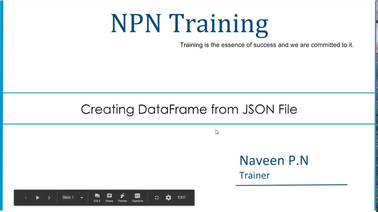 Creating DataFrame from JSON File - NPN Training
