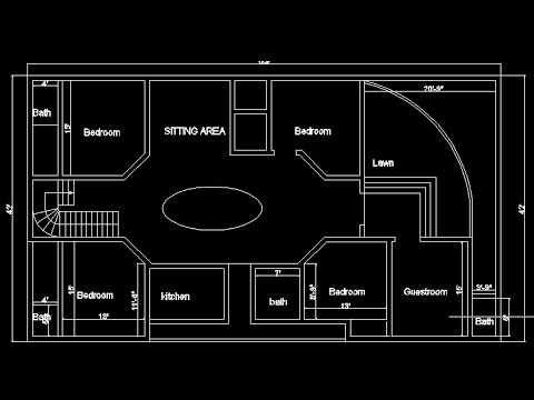 AutoCad | 2D House plan for 4 Bedroom (Speed art) Music