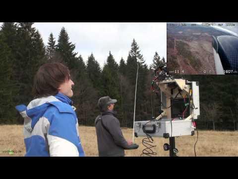 UAV-flight radio controlled + supervised by airborn-video -Drohnenflug über Bayer. Wald