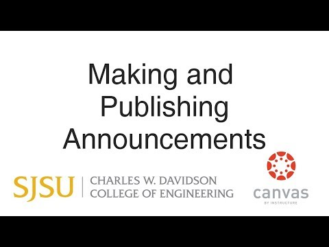 Making and Publishing Announcements