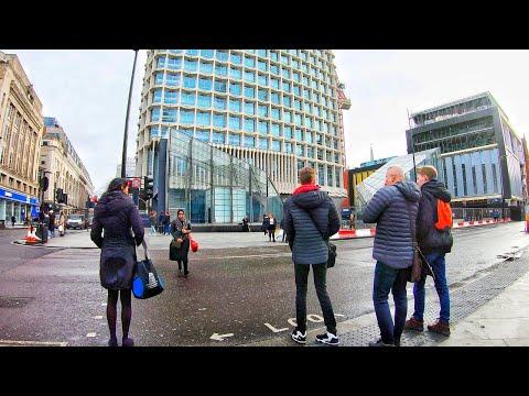 4K London Walk - Tottenham Court Road to Embankment via Charing Cross road and Trafalgar Square