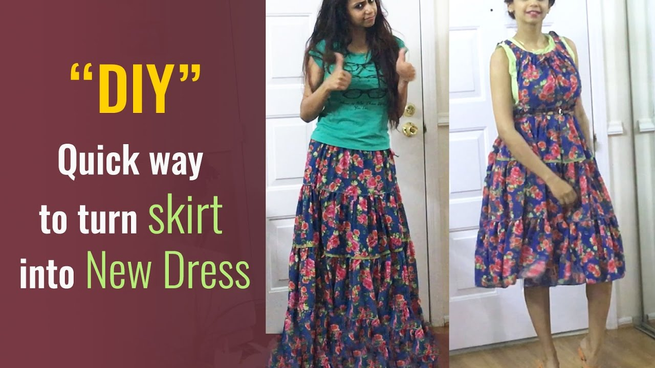 Quick way to turn skirt into new dress :) NEW DIY by ...