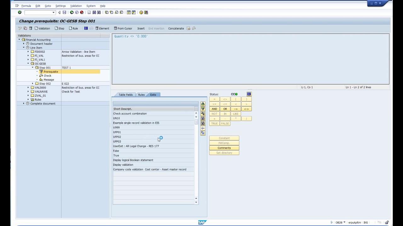 SAP FI Line Item - Validation ( OB28 )