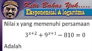 Download Video 3^(x+2) + 9^(x+1)-810=0  persamaan eksponensial MP3 3GP MP4