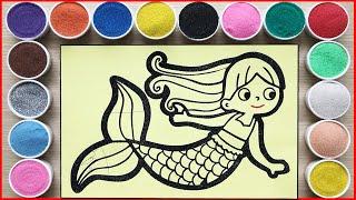 TÔ MÀU TRANH CÁT NÀNG TIÊN CÁ MẮT TO TRÒN - Mermaid sand painting lovely (Chim Xinh)