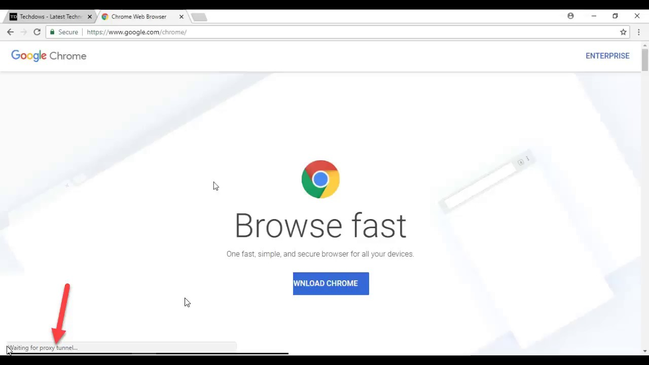 Fix Chrome's waiting for Proxy Tunnel Issue