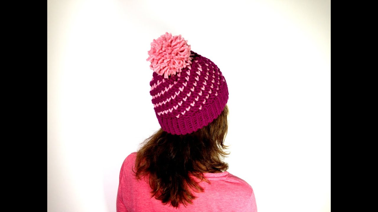 Loom Knitting With Two Colors : How to loom knit a bicolor mini hearts spiral hat diy tutorial