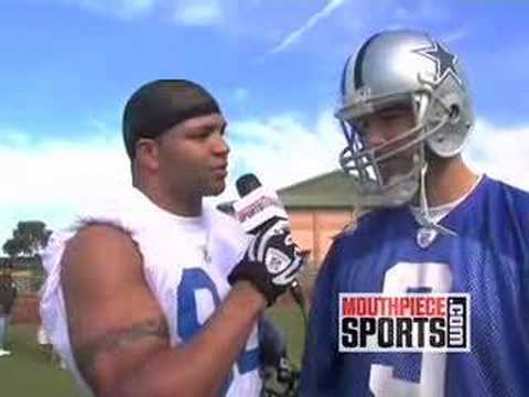 Tony Romo with Brendon Ayanbadejo at the NFL Pro Bowl