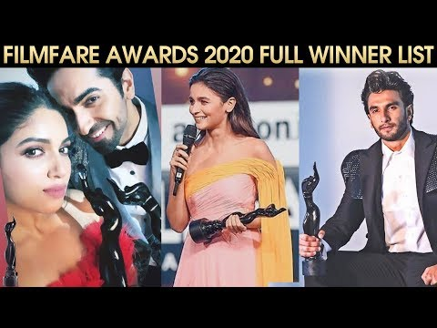Filmfare Awards 2020 FULL Winner List | Ranveer - Alia, Ayushmann Khurrana, Bhumi Pednekar