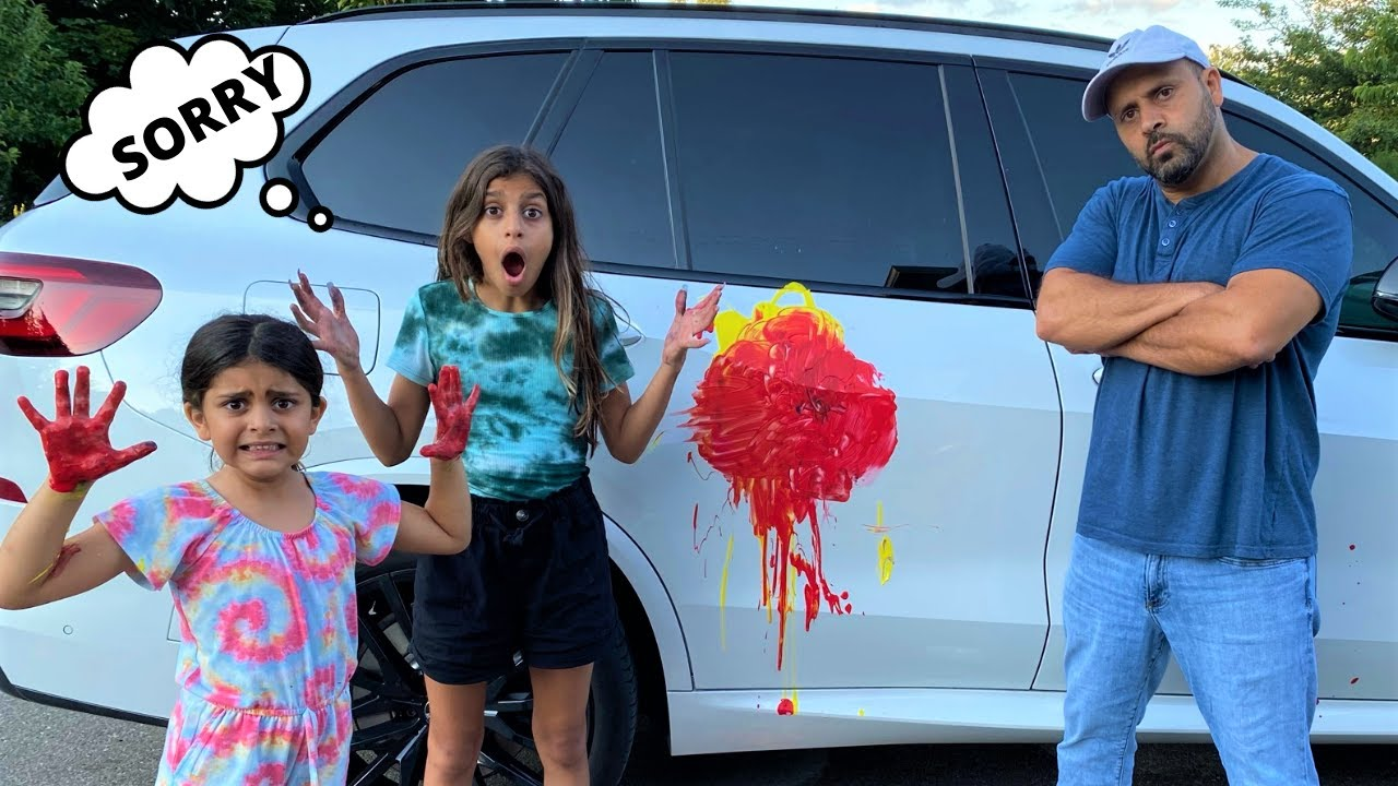 Deema and Sally Play and Paint Dad's car stories