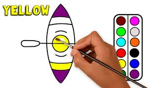 🛶How to Draw a kayak step by step for kids🚤paint canoeing boat paddle tutorial Drawing Pages book