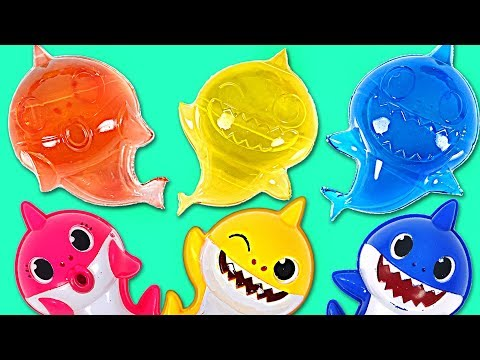 Baby shark colorful jelly making and Color play with shark family | PinkyPopTOY