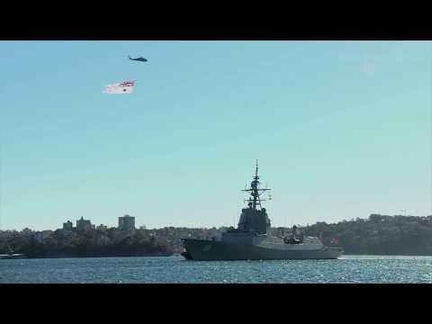 NUSHIP Hobart Arrival at Fleet Base East