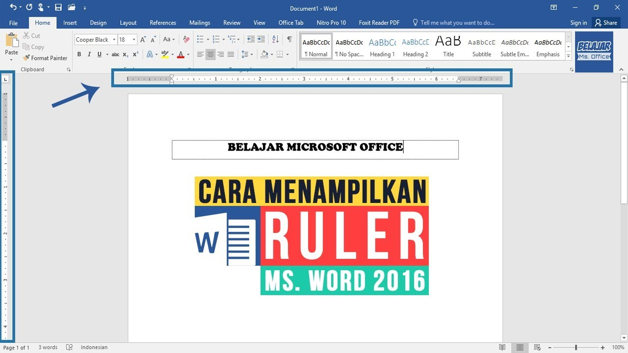 cara memunculkan ruler di word 2007