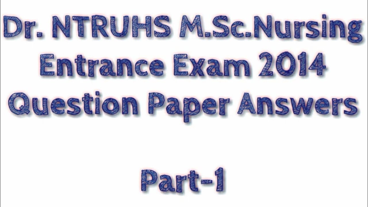 Jipmer Msc Nursing Entrance Exam Question Paper Pdf