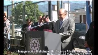 "Video: Inauguración de biblioteca judicial ""Dr. Ricardo Alfredo Reimundín"""