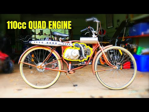 This vintage bike gets a kids quad ATV Engine!