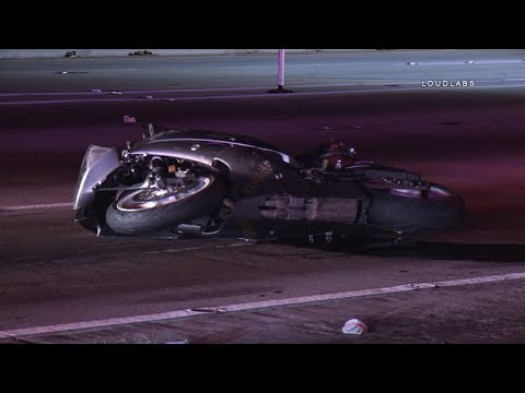 Freeway Vehicle vs Motorcycle / South LA  RAW FOOTAGE