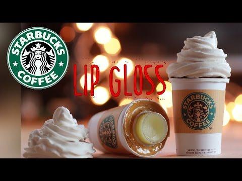 DIY Starbucks Lip Gloss - How To Make Sweet Lip Balm Coffee Cup Drink  - Polymer Clay Tutorial