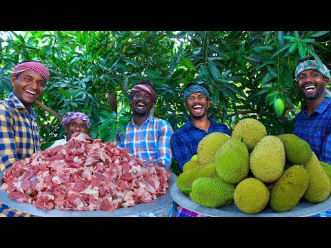 JACKFRUIT MUTTON | Raw Jackfruit Mutton Gravy Cooking in Village | Spicy Mutton Recipe Mutton Curry