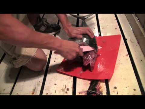 Cleaning Ahi tuna fish