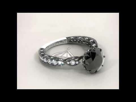 2.68 Carat Natural Black Diamond Engagement Ring 18k Black Gold Vintage Style