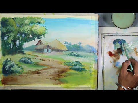 Acrylic Painting : Village Landscape | step by step Drawing & Painting