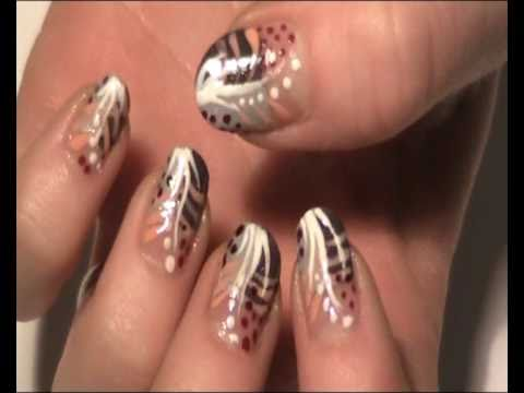 - Pretty Lines And Dots Inspired Design Nail Art Tutorial - YouTube