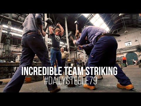 BLACKSMITHING   INCREDIBLE 4 MAN TEAM STRIKING!!!