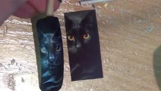 Рисунок чёрной кошки на ногтях/рисуем кошку на ногтях/Painting the nails from Anna Kuzubova , cat