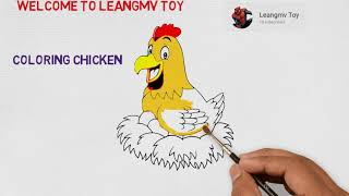Drawing chicken, coloring chicken, coloring pages for kids