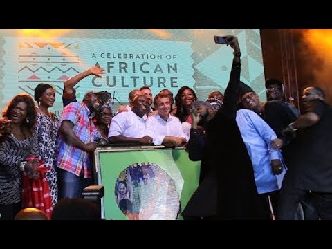 France President and Gov.Ambode snaps photo with Banky W and others on satge at Afrikan Shrine