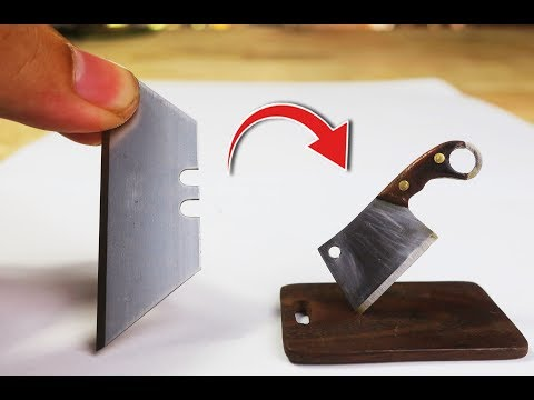 DIY Making Mini MEAT CLEAVER from Paper Knives EDC