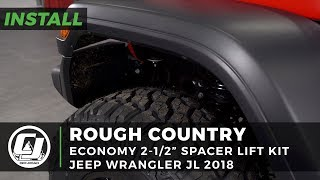 "2018 2DR Jeep Wrangler JL Install: Rough Country 2-1/2"" Economy Spacer Lift Kit w/ Shock Extensions"