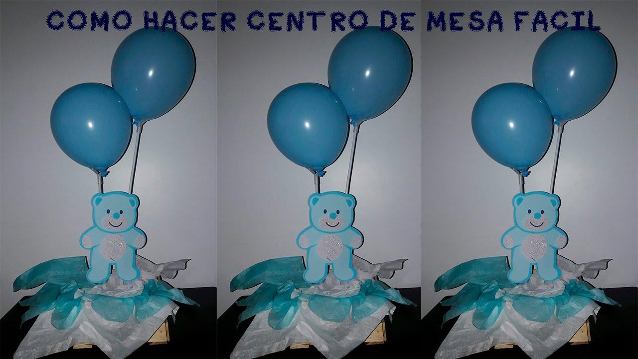 Como Hacer Centro De Mesa Baby Showeradorno Arreglos Facil Y - Adornos-globos-economicos