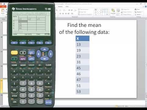 TI-89 - Statistics - Mean