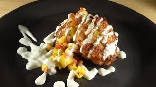 Pan Seared Crab Cakes with Mango Jalapeno Salsa and Sour Cream