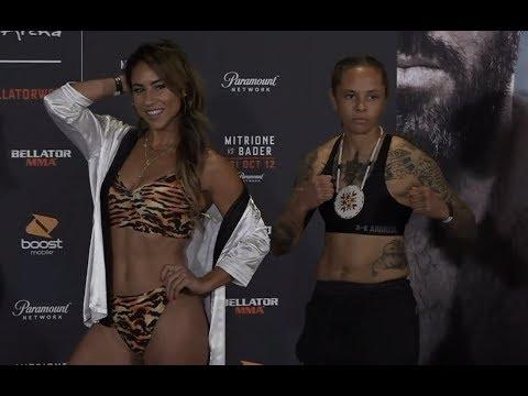 Kristi Lopez vs. Sarah Click - Weigh-in Face-Off - (Bellator 207: Mitrione vs. Bader) - /r/WMMA