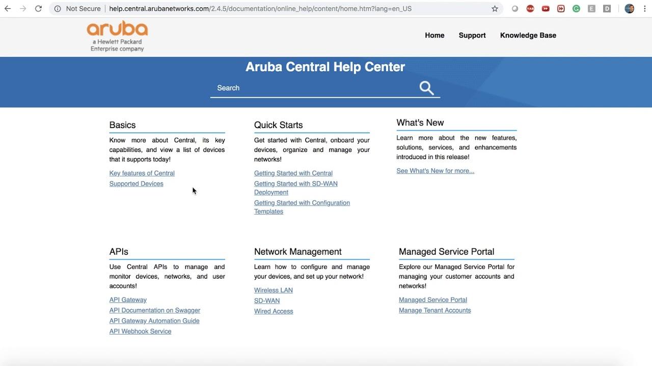 Aruba Central Documentation and help